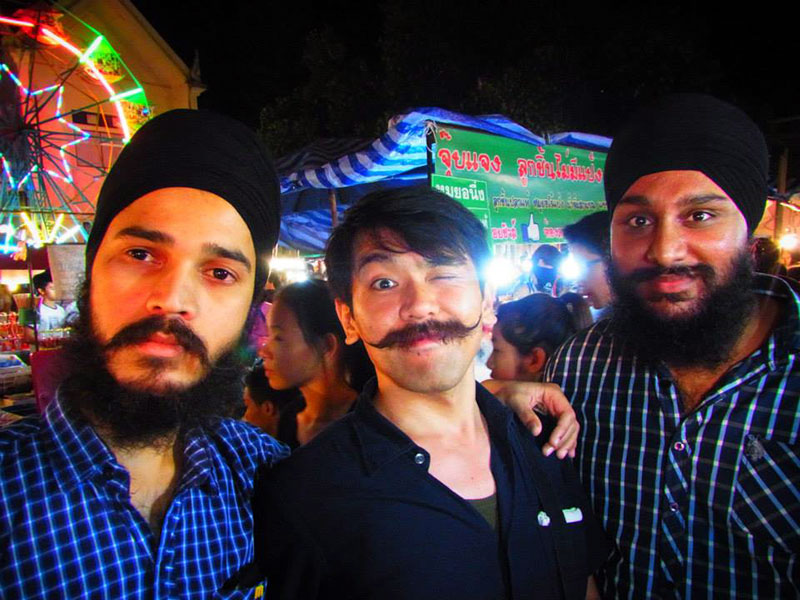 three mustached men in japan