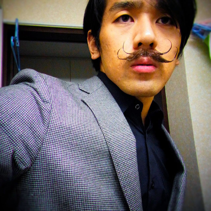asian man with mustache style