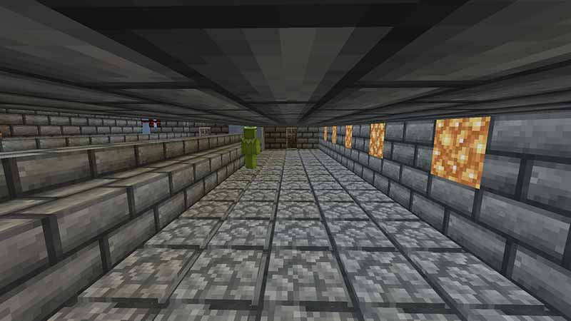 narrow minecraft hallway in kotaba miners with brick pattern