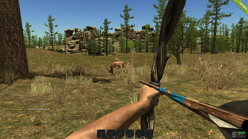 arrow pulled back from videogame pov aimed at deer in field