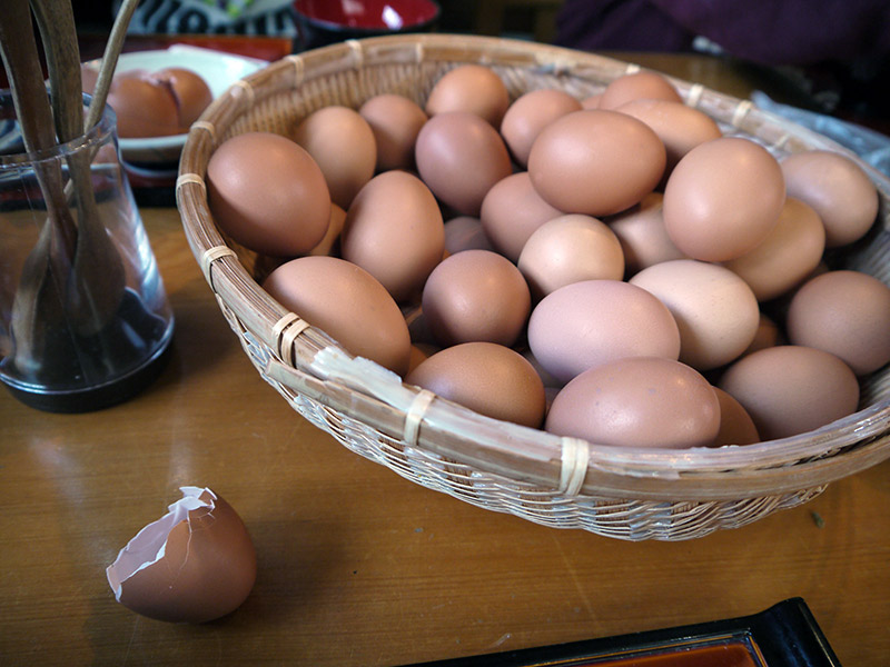 basket of eggs with a broken shell