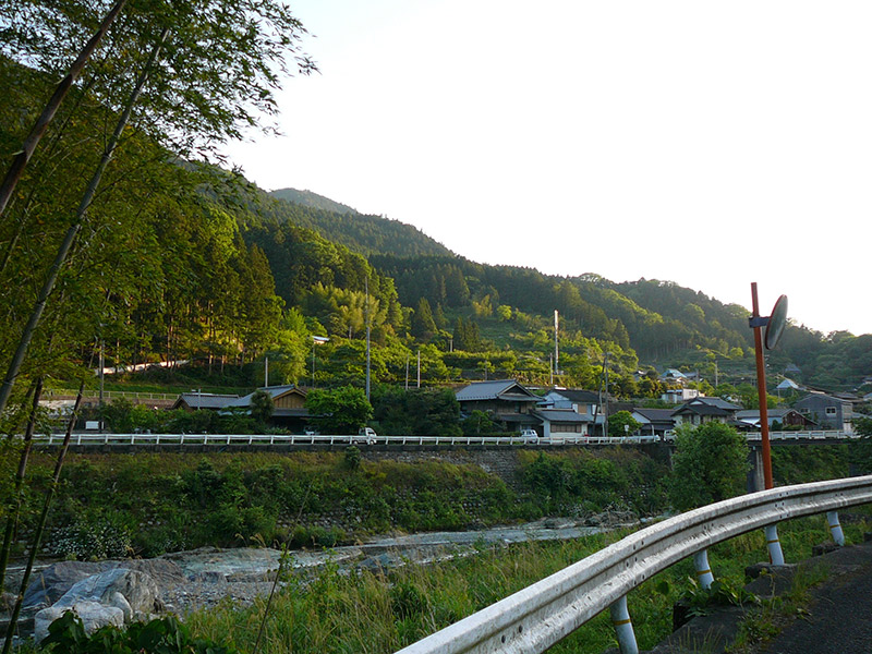 small town japan countryside green fields