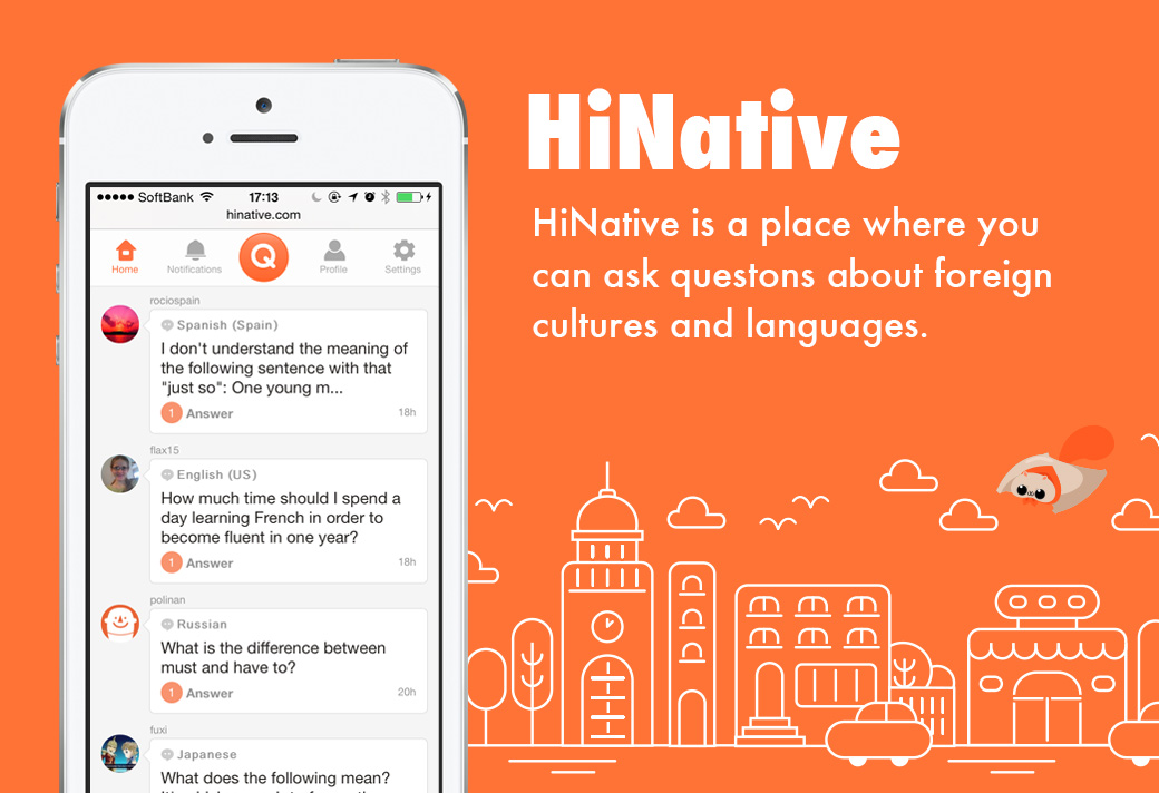 list of language questions on homepage of hinative cellphone app