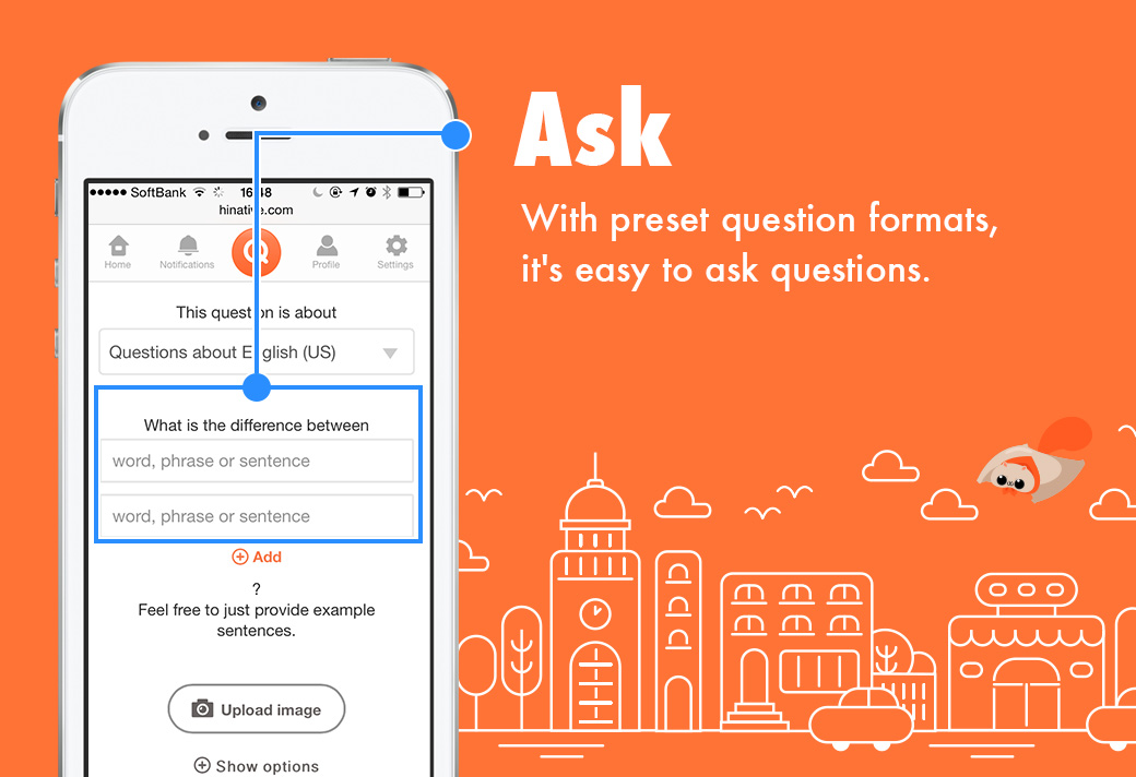 hinative app page for asking language questions of users