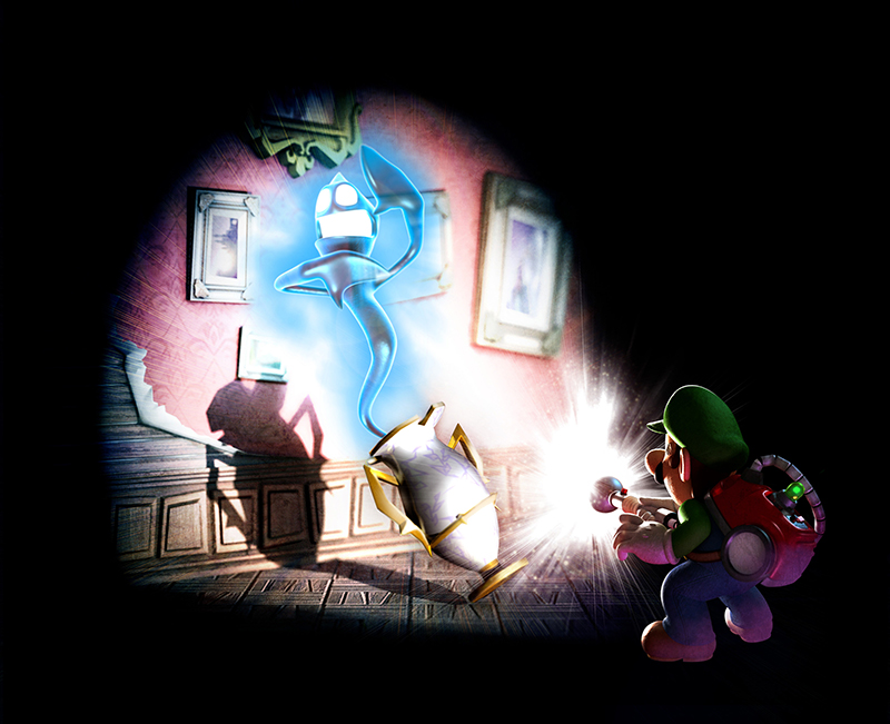 Luigi facing a ghost in Luigi's Dark Mansion