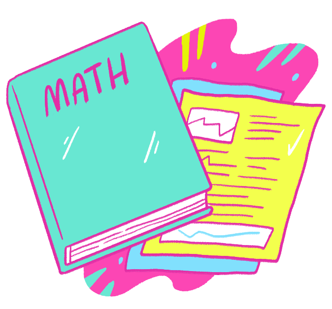 math textbook and homework illustration