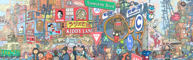 ken taya enfu mural japan reimagined with cartoon characters