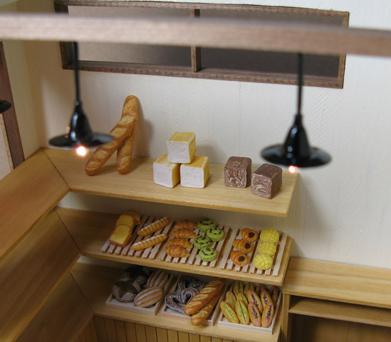 Miniature bakery with working lights