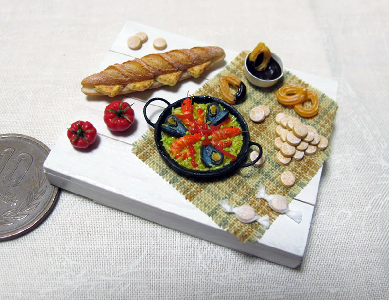 Miniature paella and baguette