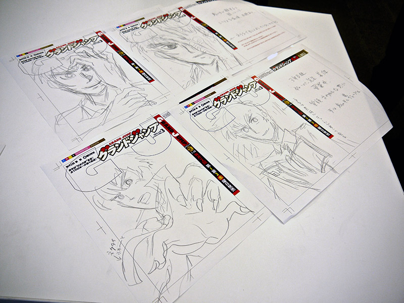 rough sketches of manga covers
