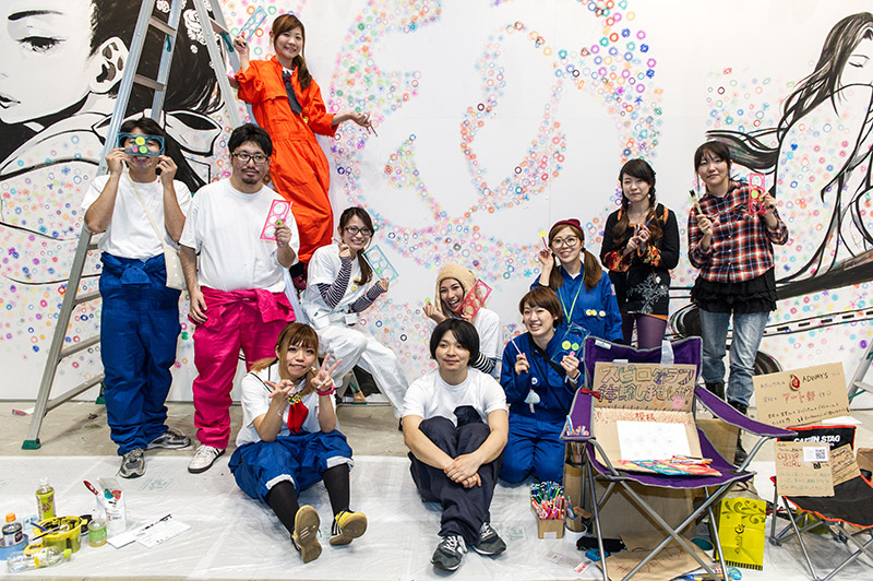 group of artists at design festa work clothes