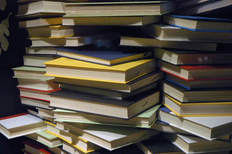 stacks of books in a pile