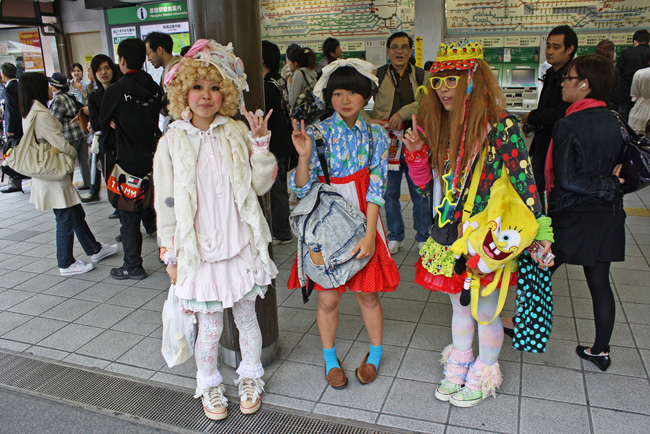 Three Japanese girls out and about during Valentine's Day