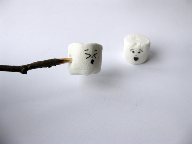 Two marshmallows with one on a stick