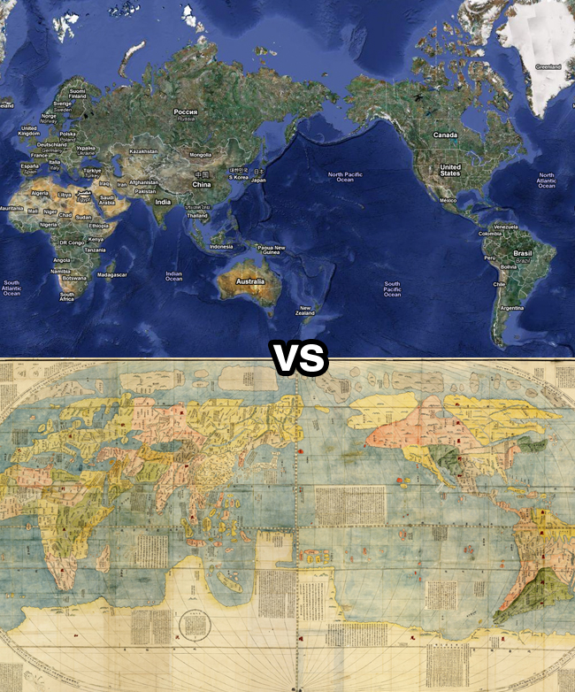 A modern map contrasted with an old-world map