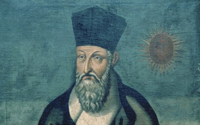 Painting of a Matteo Ricci with the sun in the background
