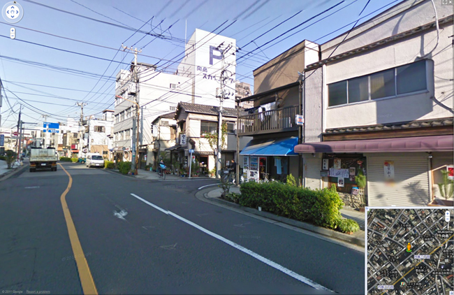 Google streetview scene of a generic-looking city road in Japan