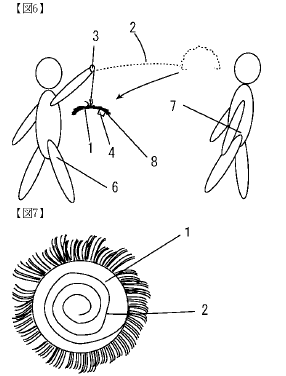 A diagram of someone holding a wig on a stick or string
