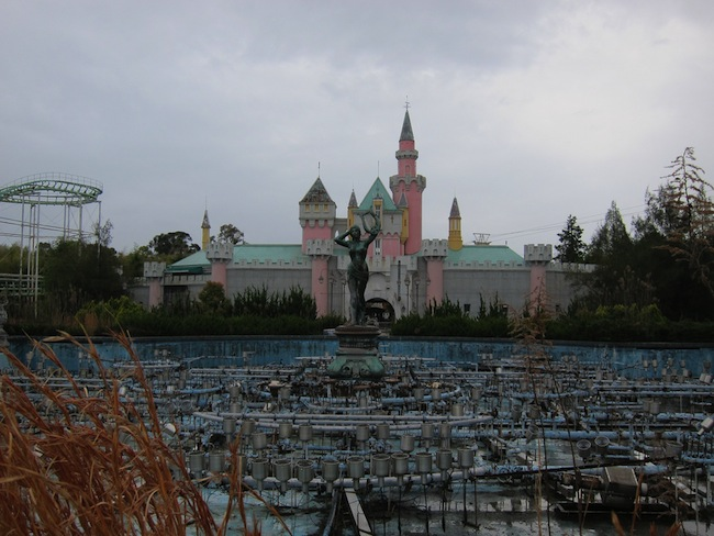 Dilapidated attractions at the abandoned Japanese amusement park Nara Dreamland