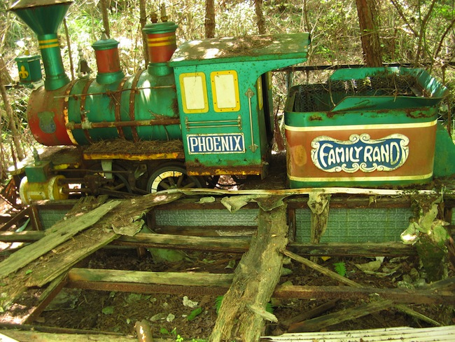 Rundown train at the abandoned Japanese amusement park Koga FamilyLand