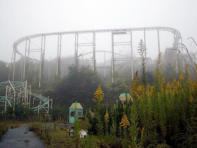 Rollercoaster at the abandoned Japanese amusement park at Takakanonuma Greenland