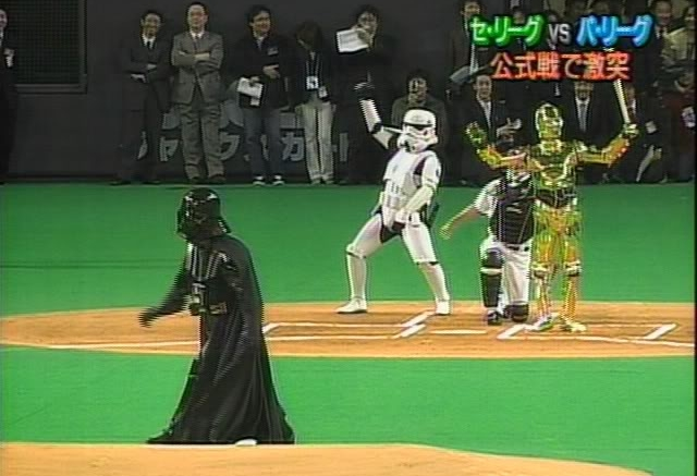 darth vader throws out the first pitch in japan