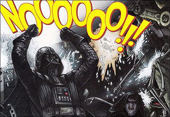 An image of Dath Vader with his fists in the air saying, 'Noooooo!!'