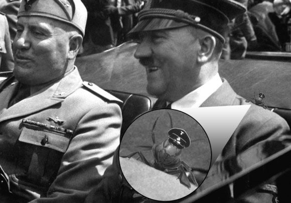 A picture of a wasp sitting on Hitler's shoulder