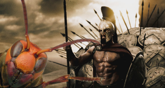 Leonidas from The 300 with a giant hornet Photoshopped next to him