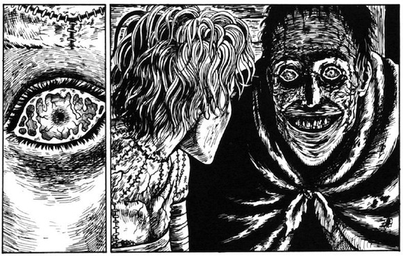 horror manga illustration of frankensteins monster