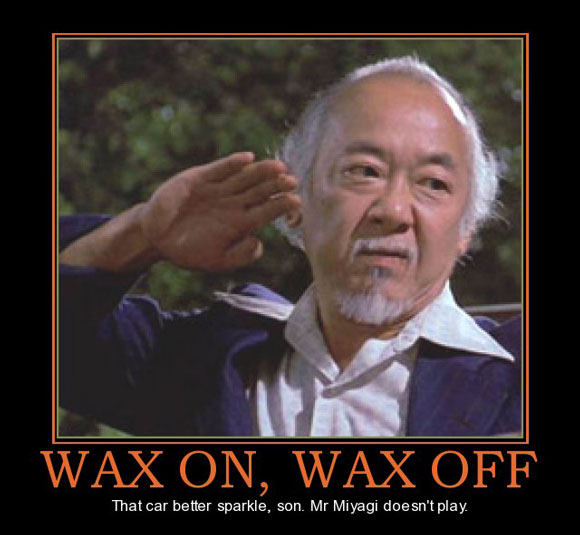 Mr. Miyagi looking upset with the caption: That car better sparkle, son. Mr. Miyagi doesn't play.