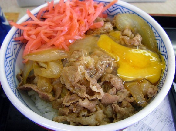 Yoshinoya gyuudon with egg and ginger