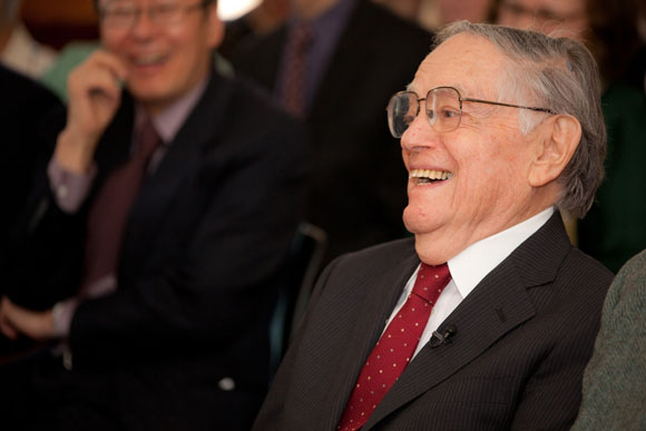 The Japanese scholar Donald Keene laughing at an event