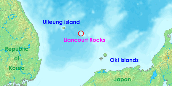 a map of the disputed dokdo or takeshima islands