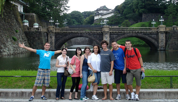 Foreign students in front of the Imperial Palace in Tokyo