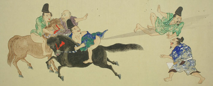 Japanese man on a horse unleashing flatulence on two men