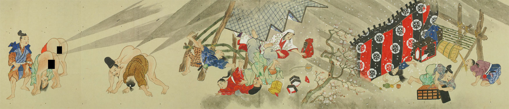 Scroll depicting a massive Japanese fart battle