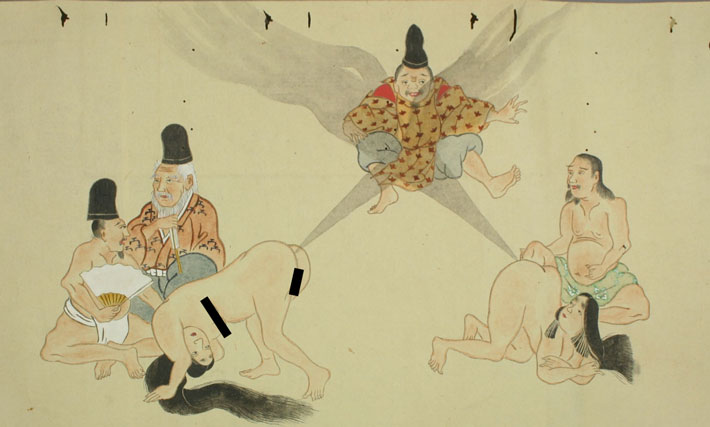 A pair of Japanese women farting to levitate a person