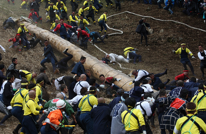large team prepares log for race