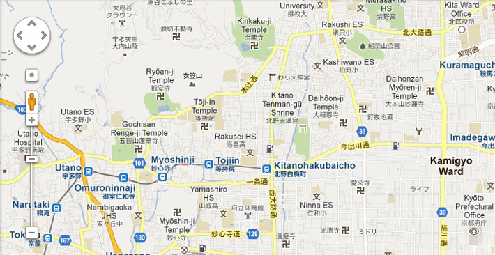 japanese swastika in kyoto via google maps