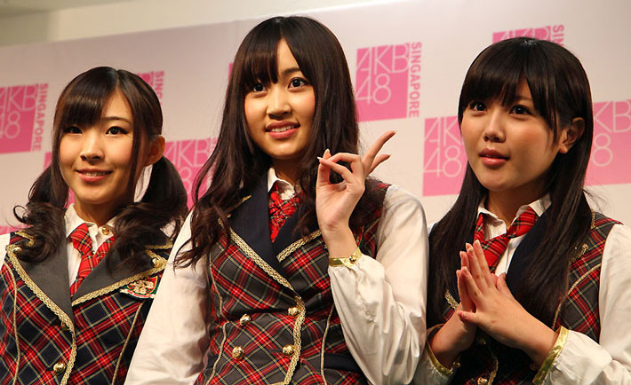 Three members of AKB48 in Singapore
