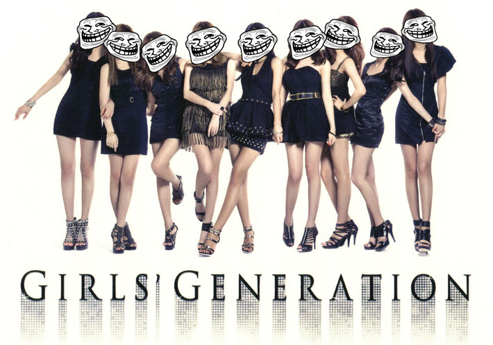 Girls Generation with the trollface superimposed on their heads