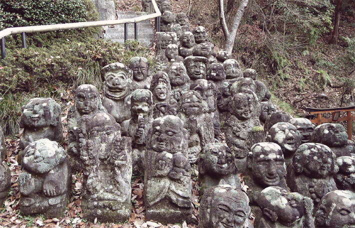 collection of jizo statues in japan