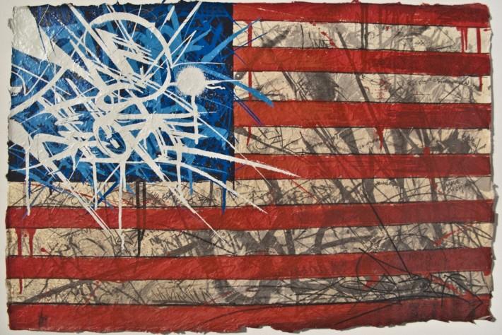 Artsy graffiti-style American flag