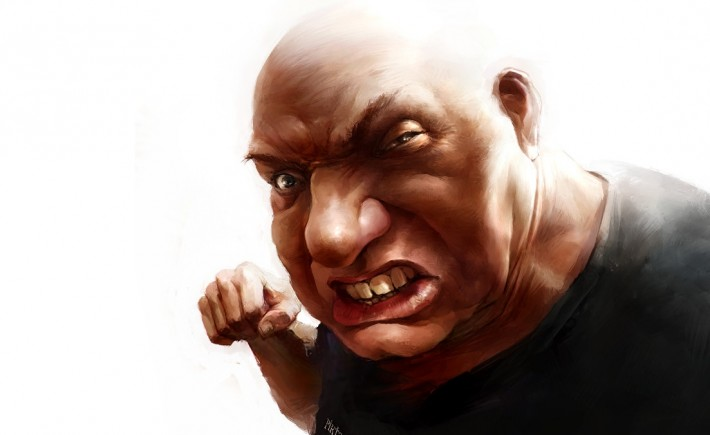 Caricature of a big angry bald man
