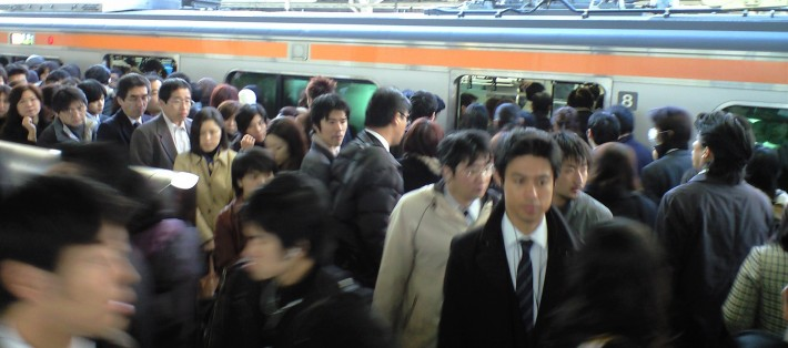 Tokyo train station during rush hour