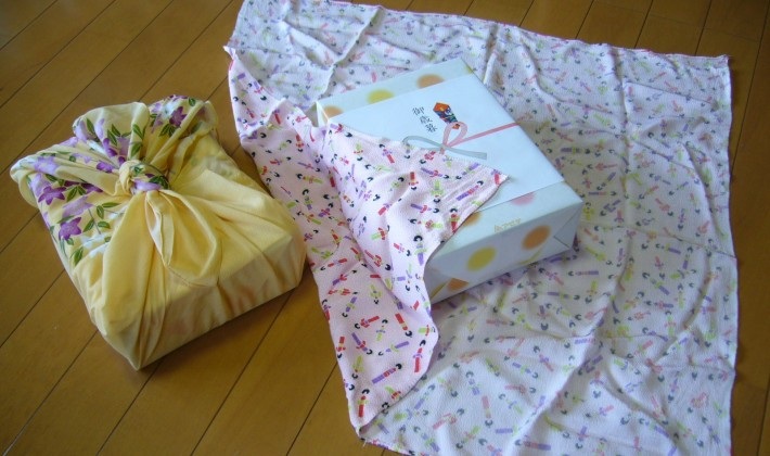 Two presents wrapped in furoshiki