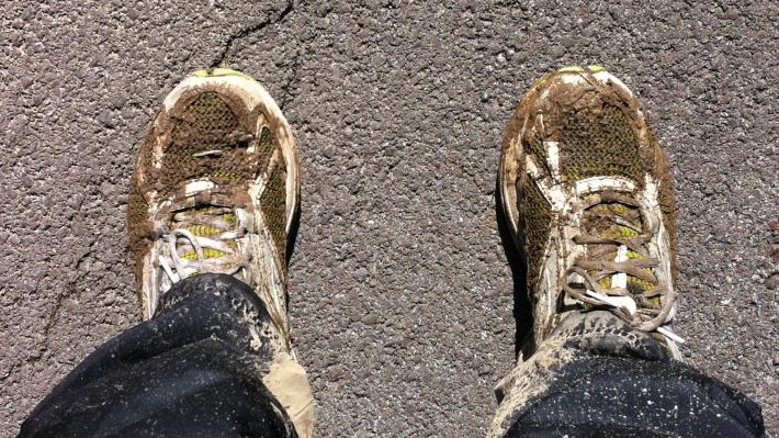 Dirty, muddy tennis shoes