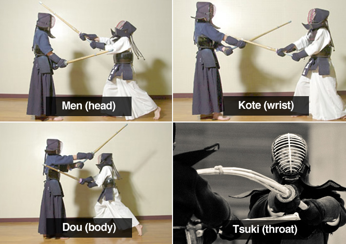 pictures showing kendo hits on a person