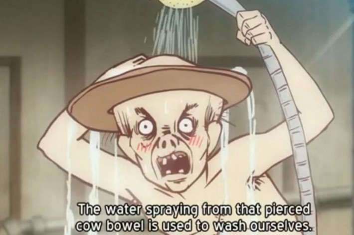 Old man in an anime washing himself with a shower head saying, 'The water spraying from that pierced cow bowel is used to was ourselves'